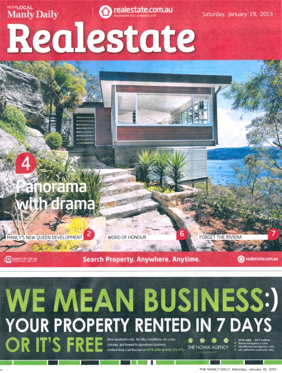 Real Estate Liftout Cover Photograph in the Manly Daily on 19/01/13